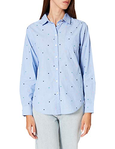 Springfield Blusa Topitos Bordados Multicolor Camisa, Azul Claro, 34 para Mujer