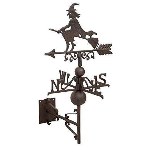 aubaho Girouette en Fonte - Motif sorcière - Style Antique 64cm Brun