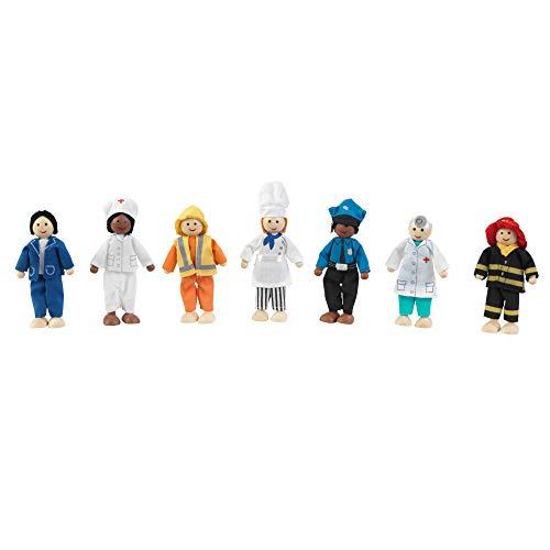 KidKraft 63279 Juego Profesiones de 7 figuras de madera de 12cm compatible con cualquier casa de muñecas , color/modelo surtido