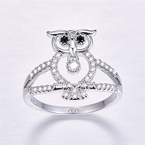 QiXuan Owl Shape Black Spinel Gemstone 925 Silver Ring Round Cut Engagement Gift