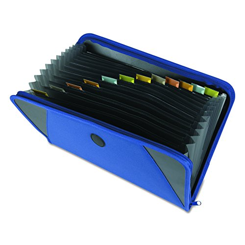 C-Line Expanding File with Zipper Closure, 13-Pocket, Tabbed Dividers, Blue (48105)