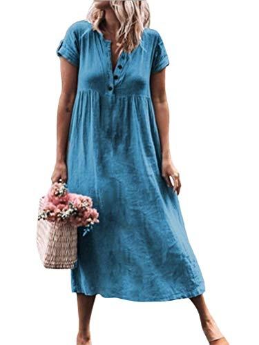 Tomwell Vestiti Cotone e Lino Donna Casual Colore Solido Tunica Bottone Eleganti V-Collo Manica Corta Mini Abito Blu IT 50