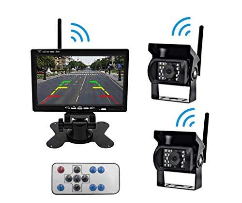 JayQm draadloze achteruitrijcamera en monitorkit, eenvoudige installatie van de camera's voor en achter, geschikt voor vrachtwagens en vrachtwagens, campers, voertuigen, bussen, school