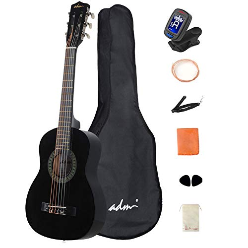 ADM Beginner Acoustic Classical Guitar 30 Inch Nylon Strings Wooden Guitar Bundle Kit with Carrying Bag & Accessories, Black