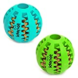 Idepet Dog Toy Ball, Nontoxic Bite Resistant Toy Ball for Pet Dogs Puppy Cat, Dog Pet Food Treat Feeder Chew Tooth Cleaning Ball Exercise Game IQ Training Ball(2 Pack-Blue&Green)