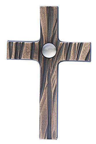 Wandkreuz Bronze Bronzekreuz weiß Bergkristall Kreuz 13,5 cm Schmelter Raimund
