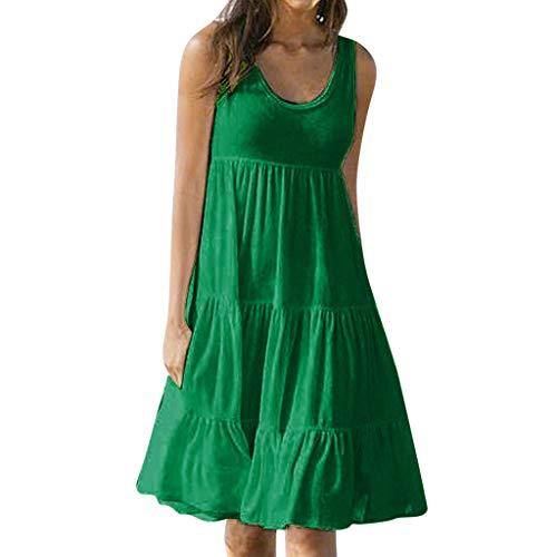 Fghyh Freizeitkleider für Damen, Ärmellos Schlüsselloch Saum Lose Einfarbig Lässig Sommerkleider Strandkleid Minikleid(L, Grün)