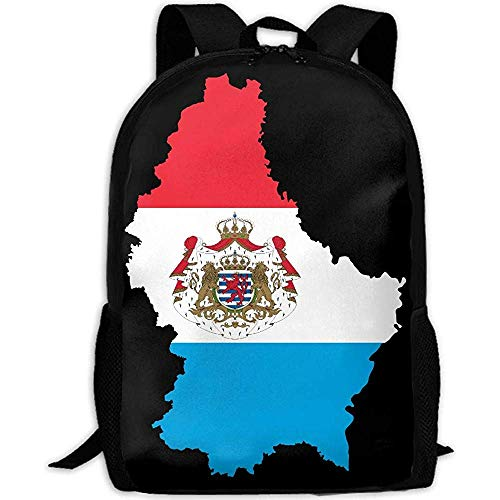 Bookbag Luxembourg Map Flag Print Custom Casual Travel School Bag Daypack Multipurpose Rugzak Volwassene