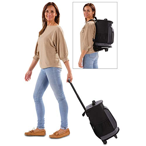 maxVitalis Einkaufstrolley/Rucksack klappbar mit Kühlfunktion, Shopping Trolley mit Abnehmbarer Tasche, Einkaufsrucksack mit Rollen und Einkaufs-Trolley, 22 L, Stabil & leicht (Rucksack-Trolley)