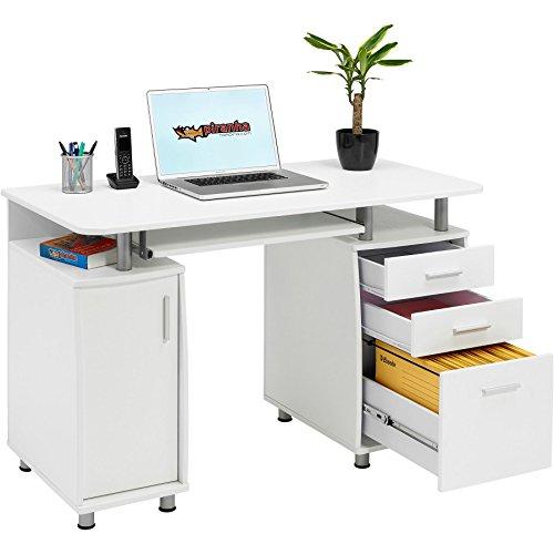 Piranha Großer Computertisch mit 3 Schubladen und einem Unterschrank in weiß PC 2s