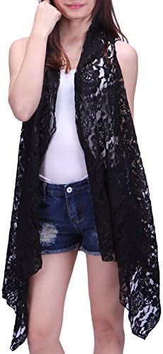 HDE Womens Lace Asymmetrical Cardigan Sleeveless Open Front Hippie Crochet Vest Black XL 2X product image