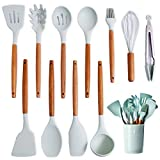 Kitchen Cooking Utensils Set With holder,Silicone Cooking Spoon Spatula Wooden Handle,Spatula For Nonstick Cookware,Light Blue Silicon Kitchen Cooking Tools Utensils Tongs Whisk Ladle Heat Resistant