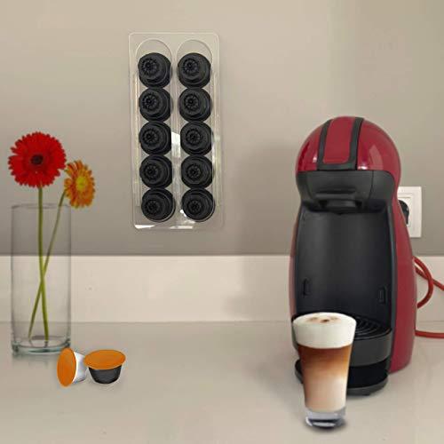 Dispensador capsulas café dolcegusto en metacrilato 10 capsulas - Soporte portacapsulas dolce gusto transparente - 2 unidades