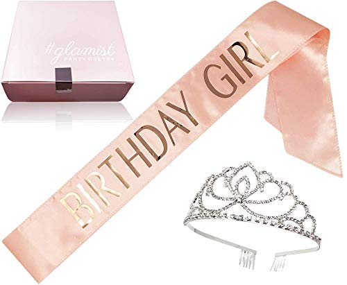 #glamist Birthday Girl Blush Pink Sash with RoseGloss Print and Platinum Rhinestone Tiara - Perfect for The Big Celebration on Your Bday! by #glamist