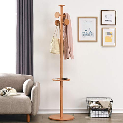 Lrxq Kledingrek van massief hout voor slaapkamerkleding, eenvoudig frame, uit een stang van hout, kleur: woonkamer