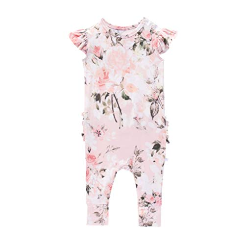 Posh Peanut Baby Ruffled Cap Sleeve Rompers - Newborn Girls Clothes - Kids One Piece PJ - Soft Viscose from Bamboo (Vintage Pink Rose, 3-6 Months)