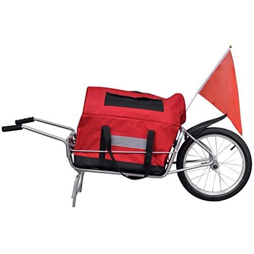 vidaXL Single Wheel Cargo Trailer Bicycle Bike Luggage Cart Steel Carrier w/Storage Bag