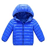 Kehen Kid Toddler Boys Girls Solid Hooded Coat Winter Lightweight Down Jacket Packable Cotton Coat Blue 12-18 Months