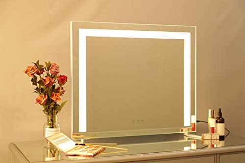 DAYU Tischspiegel Hollywood Speigel mit Beleuchtung Kosmetikspiegel Schminkspiegel Theaterspiegel mit Licht 3 Farbtemperatur dimmbare LED für Wohnzimmer, Schlafzimmer,