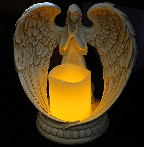 Flamless Candle Holder Praying Angel Figurine Statue Wings Candlestick for Church Memorial Gift,Battery Operated Led Tea Light White A 21x21cm(8x8inch)