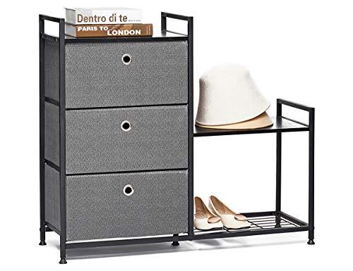 Comodas de Tela Cajonera con 3 Cajón y Zapatero Cómoda Gabinete de Almacenamiento Mueble Organizador Armario Vertical para Pasillo Entrada Dormitorio Salon Trastero Madera Metal Gris y Negro