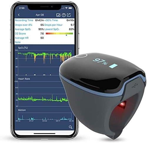 ViATOM Medidor Saturación Oxigeno Bluetooth, Saturador Oxigeno Dedo Profesional para sueño para el seguimiento de Bajo nivel de SpO2 y Alta o baja frecuencia cardíaca con el informe de Aplicación PC