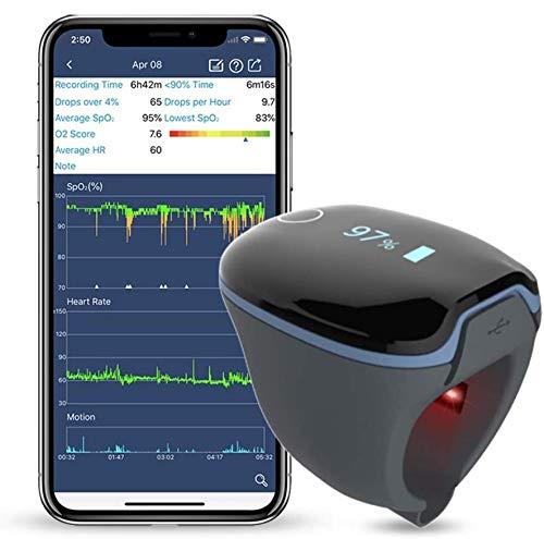 ViATOM Medidor Saturación Oxigeno Bluetooth, Saturador Oxigeno Dedo Profesional para sueño para el seguimiento de Bajo nivel de SpO2 y Alta o baja frecuencia cardíaca con el informe de Aplicac