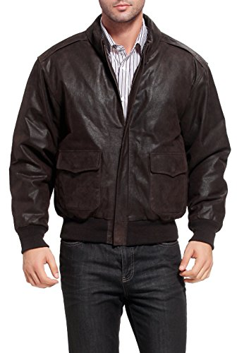 Landing Leathers Men's Air Force A-2 Leather Flight Bomber Jacket Distressed Brown XX-Large