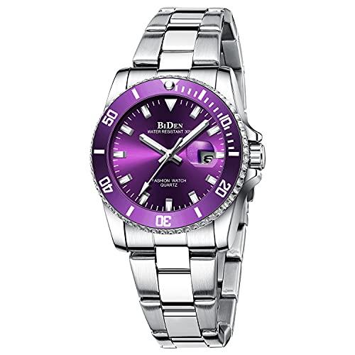 Relojes para mujer con cronógrafo de diamantes de acero inoxidable, resistente al agua, fecha, analógico, de cuarzo, para negocios, casual, de moda, para mujer