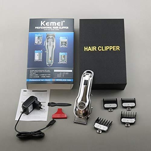 Ligne professionnelle de coupe de cheveux d'hommes de coupe de cheveux - coupe de cheveux électrique sans fil de charge de barbier Argent avec boîte