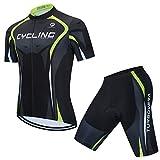 AICTIMO Traje Ciclismo Maillots Ciclismo Hombre Verano+ Pantalones Corto Ciclismo Acolchado de Gel Culotte y Maillot para MTB, Spinning, Bicicleta (verde1, L)