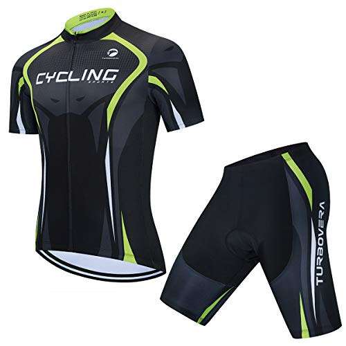 AICTIMO Herren Radsport Set Kurzarm Fahrradtrikot Atmungsaktiv Trikot + Radhose mit Sitzpolster Fahrradsport Anzüge Radsport-Bekleidung für Männer (grün1, L)