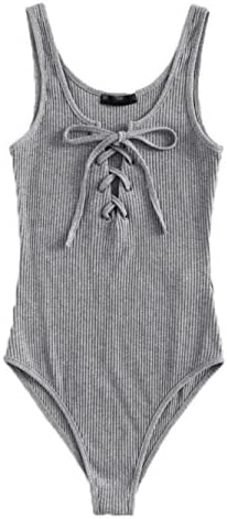 MakeMeChic Women s Sleeveless Lace Up Knit Sexy Leotard Bodysuit Grey XS product image