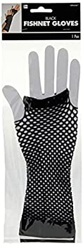 Amscan Perfect Team Spirit Fishnet Fingerless Glove Accessory Black One Size 2ct Party Supplies