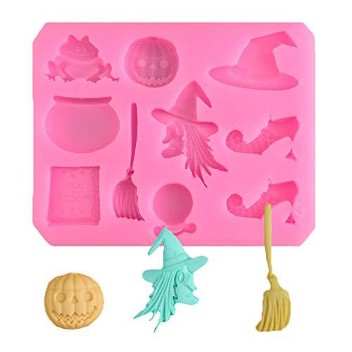 DUBENS Halloween Besen Kürbis Frosch Hexe Silikon Fondant Seife 3D Kuchen Form Cupcake Candy Schokolade Dekoration Backen Werkzeug