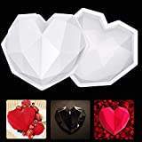 VXDAS 2PCS 3D Diamond Heart Love Shape Silicone Cake Mold Chocolate Mousse Cookie Mold for Brownie Jelly Pudding Cheesecake Fondant Baking Pan for Home Kitchen DIY Baking Tools Mothers Day Gifts
