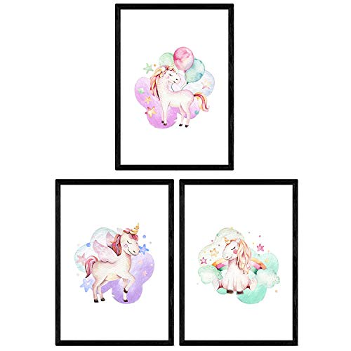 Pack de Tres láminas con Ilustraciones de Animales. Posters con imágenes Infantiles de Animales. Unicornio con Globos Unicornio Arcoiris y Unicornio con alas. Tamaño A3 sin Marco…