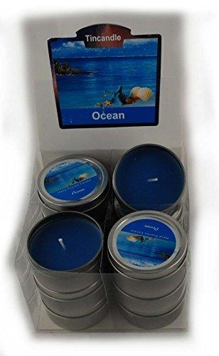 12 Dosenkerzen Duftkerzen 62 x 30 mm in blau - Duft Ocean