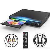 Jinhoo DVDプレーヤー1080Pサポート DVD/CDディスクプレーヤー 再生専用モデル AVケーブル HDMIケーブル付き 音楽再生 ブラック CPRM対応 リージョン フリーリモコン 録画 番組 テレビ 地上デジタル放送 テレビ/プロジェクター接続可能