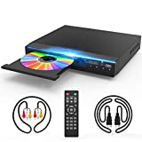 DVD Player for TV, DVD CD Player with HD 1080p Upscaling, HDMI & AV Output (HDMI & AV Cable Included), All-Region Free, Coaxial Port, USB Input, Remote Control Included
