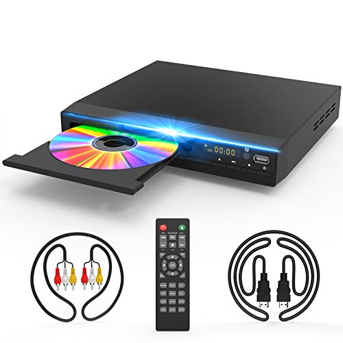 DVD Player with HDMI AV Output, DVD Player for TV, HD 1080P Upscaling with Coaxial Output HDMI AV Cable Remote Control USB Input, Region Free Home DVD Players…