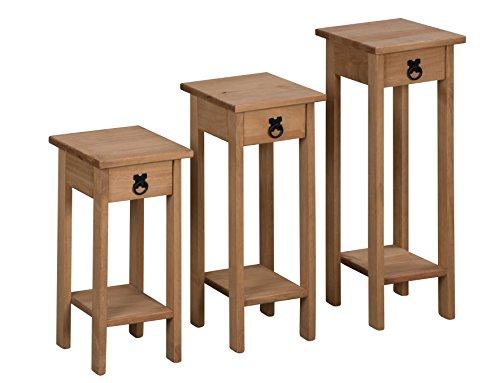 Mercers Furniture Corona Set von 3 Pflanze Steht, Holz, Antique Wax, 25 x 27 x 73 cm