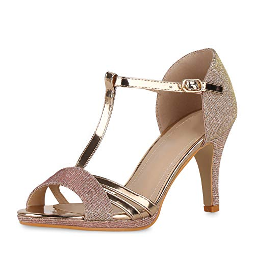 SCARPE VITA Damen Glitzer Sandaletten Stiletto High Heels Party Schuhe Metallic Absatzschuhe Elegante 191195 Rose Gold Total 39