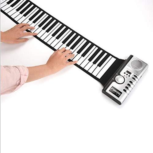Donteec Instrumento de teclado MIDI, 61 teclas se pueden enrollar para piano electrónico teclado de piano puerto USB con altavoz portátil teclado de música para niños