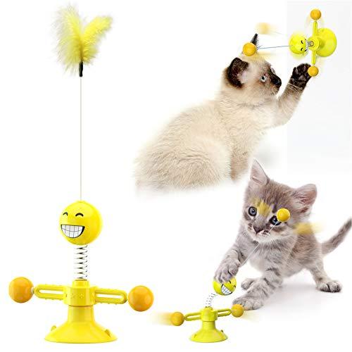 Sunshine smile Windmühle Katzenspielzeug, Plattenspieler Katzenspielzeug, Saugnapf Drehbare Interaktives Spielzeug, Katze Haarbürste Plattenspieler Massage Kratzen Tickle Toy