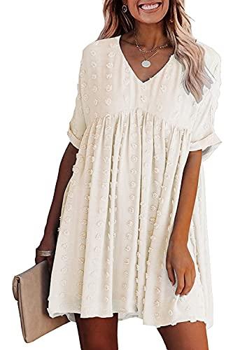 Sommerkleid Damen V Ausschnitt Kleider Elegant Kurzarm Freizeitkleid Tunika Kleid Sexy Strandkleider Lose Swing Kleid (S, Aprikose)