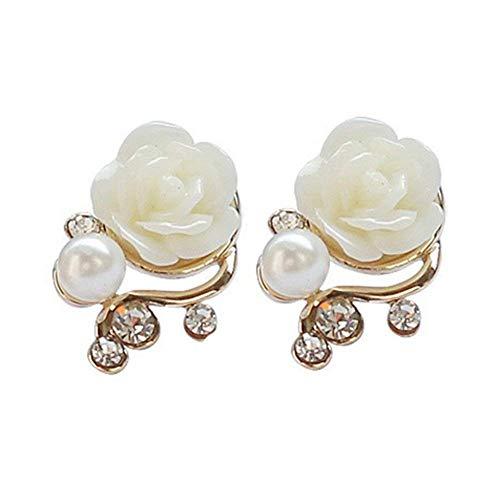 UBL PULABORose Flower Crystal Rhinestone Pearl Stud Earrings Stylish and Popular