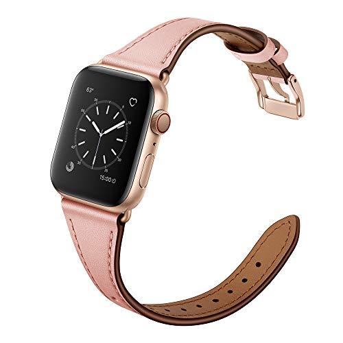 Arktis Lederarmband für Frauen kompatibel mit Apple Watch (Series 1, Series 2, Series 3 mit 38 mm (Series 4, Series 5 mit 40 mm) dünnes Ersatzband [echtes Leder] mit Edelstahlschließe - Rosé