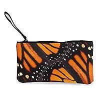 オレンジモナークバタフライウィングキャンバス小銭入れチェンジキャッシュバッグスモール財布ウォレットカードキーウォレット