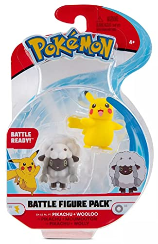 Pokémon Battle Figuren 2-Pack | Pikachu & Wolly 5-cm-Figuren | Offiziell von Pokemon Lizenziert